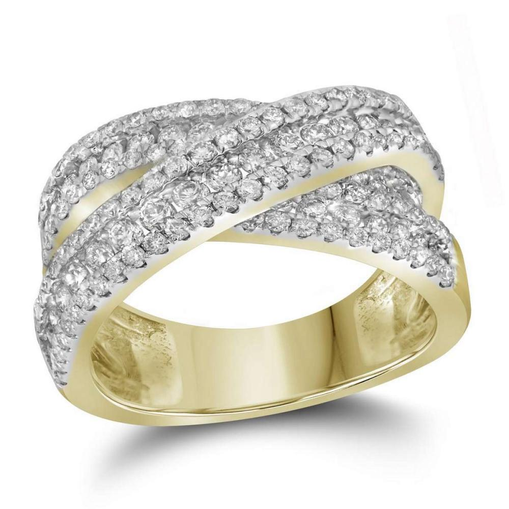 14kt Yellow Gold Womens Round Pave-set Diamond Crossover Cocktail Band 1-7/8 Cttw #1AC44186