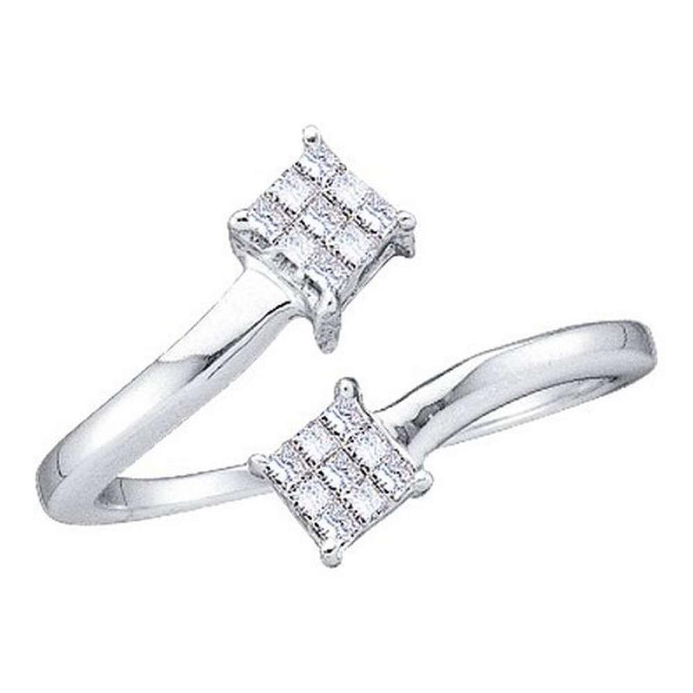 14KT White Gold 0.20CTW PRINCESS DIAMOND LADIES FASHION 2SQUARE RING #1AC53492