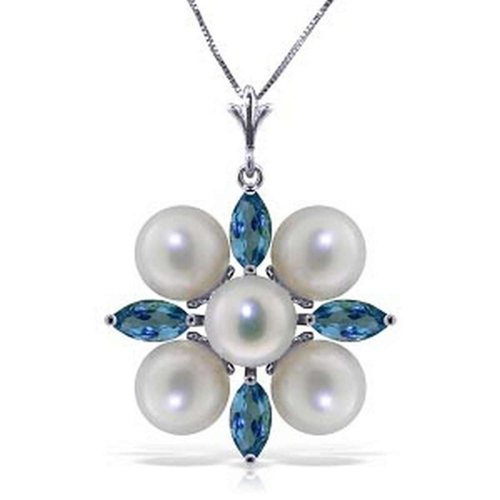 6.3 Carat 14K Solid White Gold Peace Of Heaven Blue Topaz pearl Necklace #1AC92518