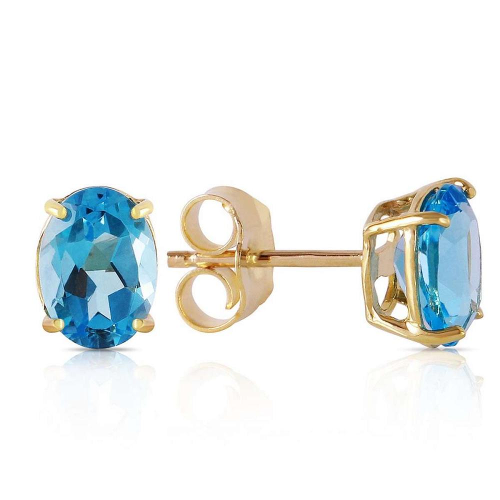 1.8 CTW 14K Solid Gold Will Sing For You Blue Topaz Earrings #1AC92387