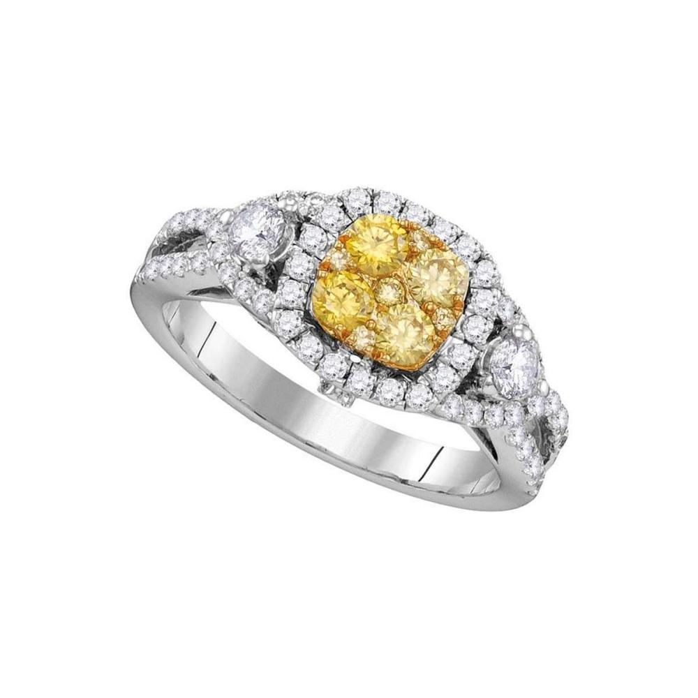 14kt White Gold Womens Round Yellow Diamond Cluster Bridal Wedding Engagement Ring 1-1/8 Cttw #1AC44207