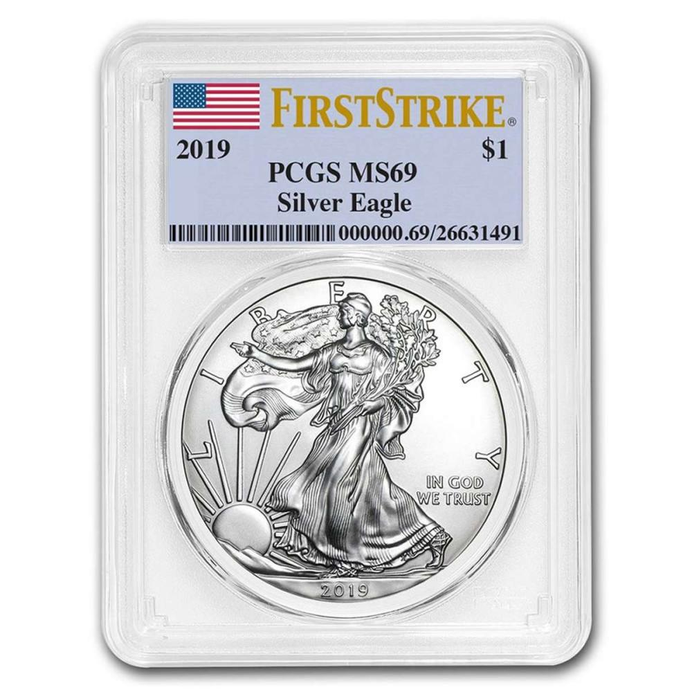 Certified Uncirculated Silver Eagle 2019 MS69 PCGS First Strike #1AC98284