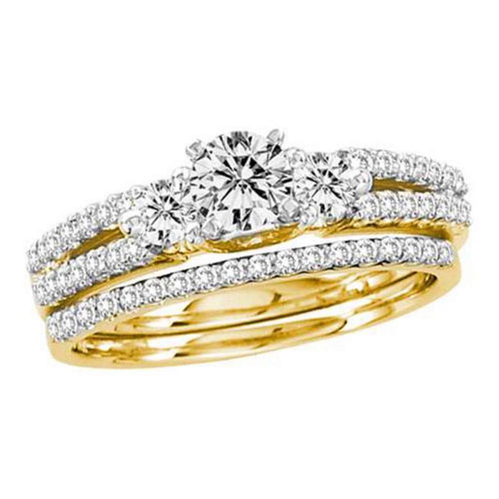 14KT Yellow Gold 1.00CTW DIAMOND 0.40CT CENTER ROUND BRIDAL SET #1AC56222