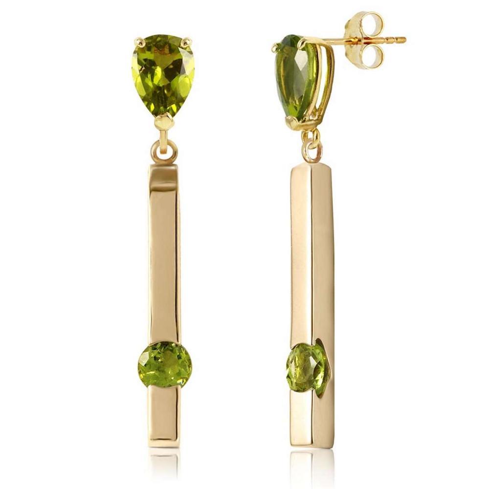 4.25 CTW 14K Solid Gold Bar Peridot Drop Earrings #1AC92330