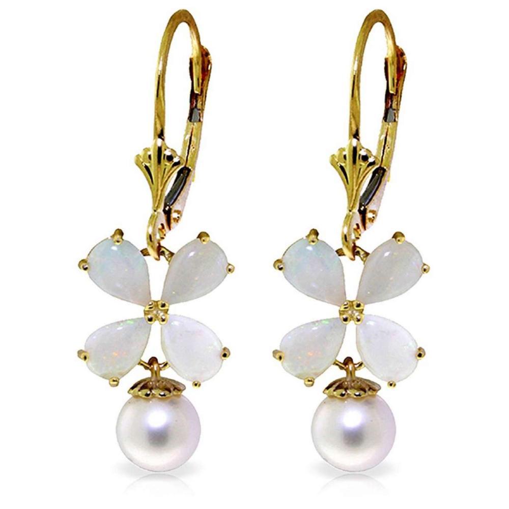 6 Carat 14K Solid Gold Leverback Earrings Opal pearl #1AC92696