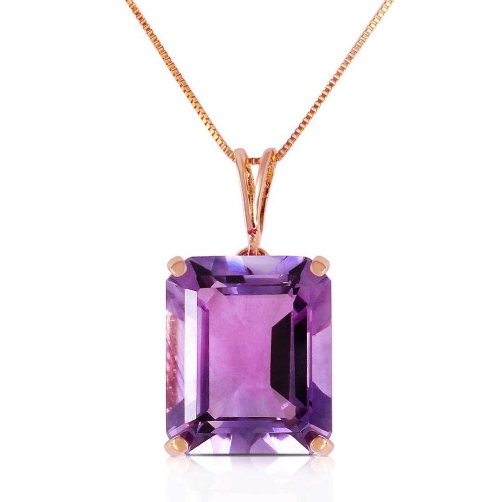 14K Solid Rose Gold Necklace with Octagon Purple Amethyst #1AC92316