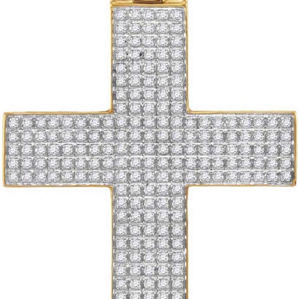 10kt Yellow Gold Mens Round Diamond Roman Cross Charm Pendant 7/8 Cttw #1AC44398