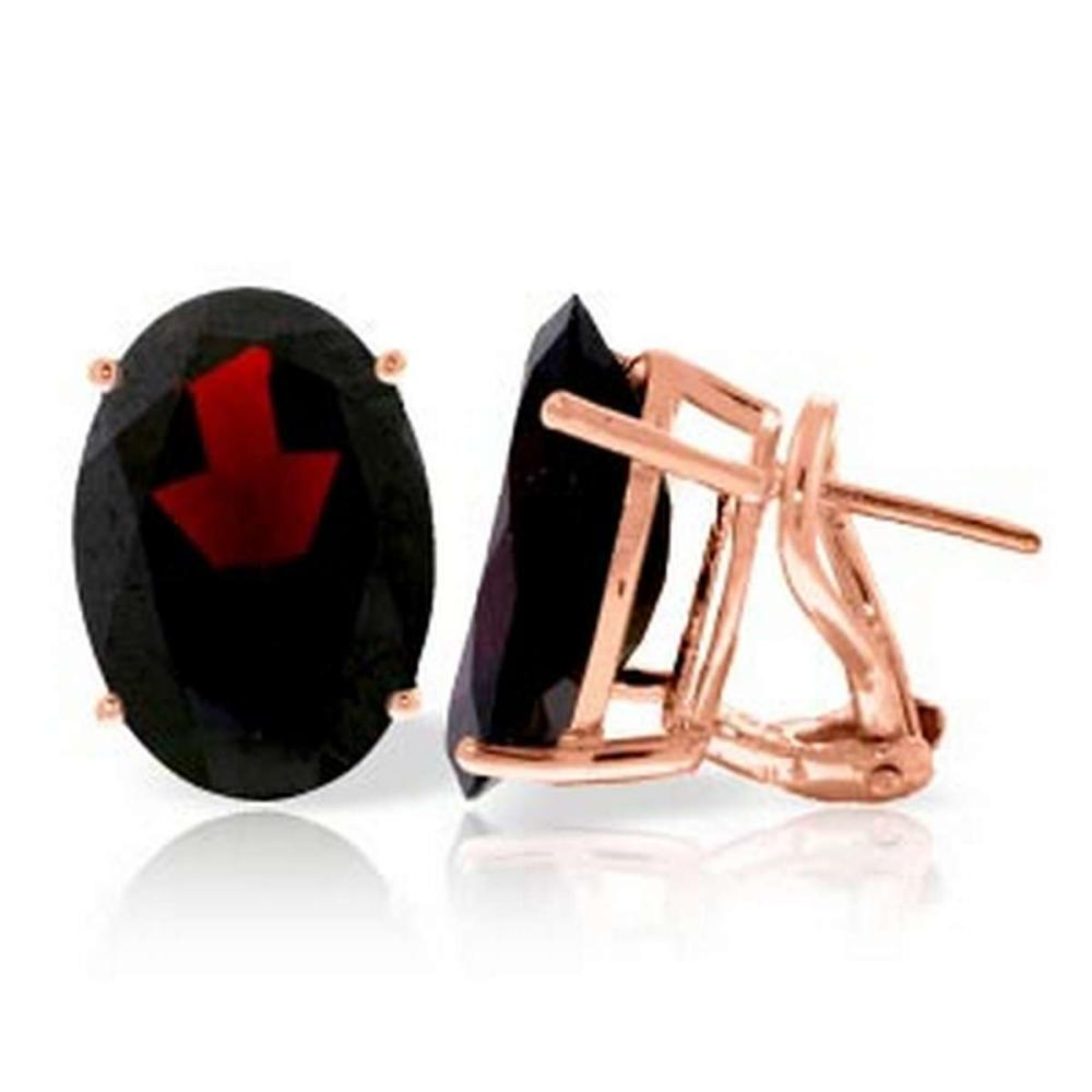 13 CTW 14K Solid Rose Gold French Clips Earrings Natural Garnet #1AC92322