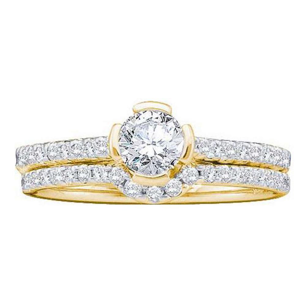 14KT Yellow Gold 0.77CTW DIAMOND 0.40CT CENTER ROUND BRIDAL SET #1AC55976