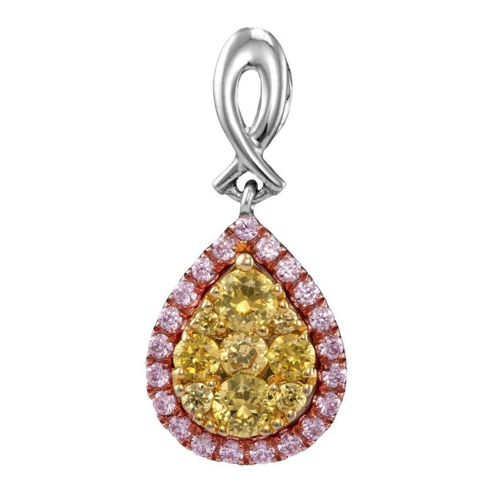 14kt White Gold Womens Round Yellow Pink Diamond Teardrop Cluster Pendant 1/2 Cttw #1AC44200
