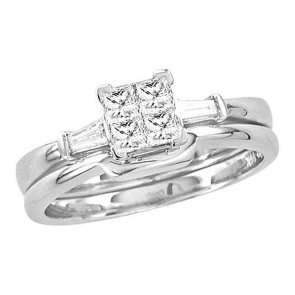 14K White-gold 0.50CT DIAMOND INVISIBLE BRIDAL SET #1AC56360