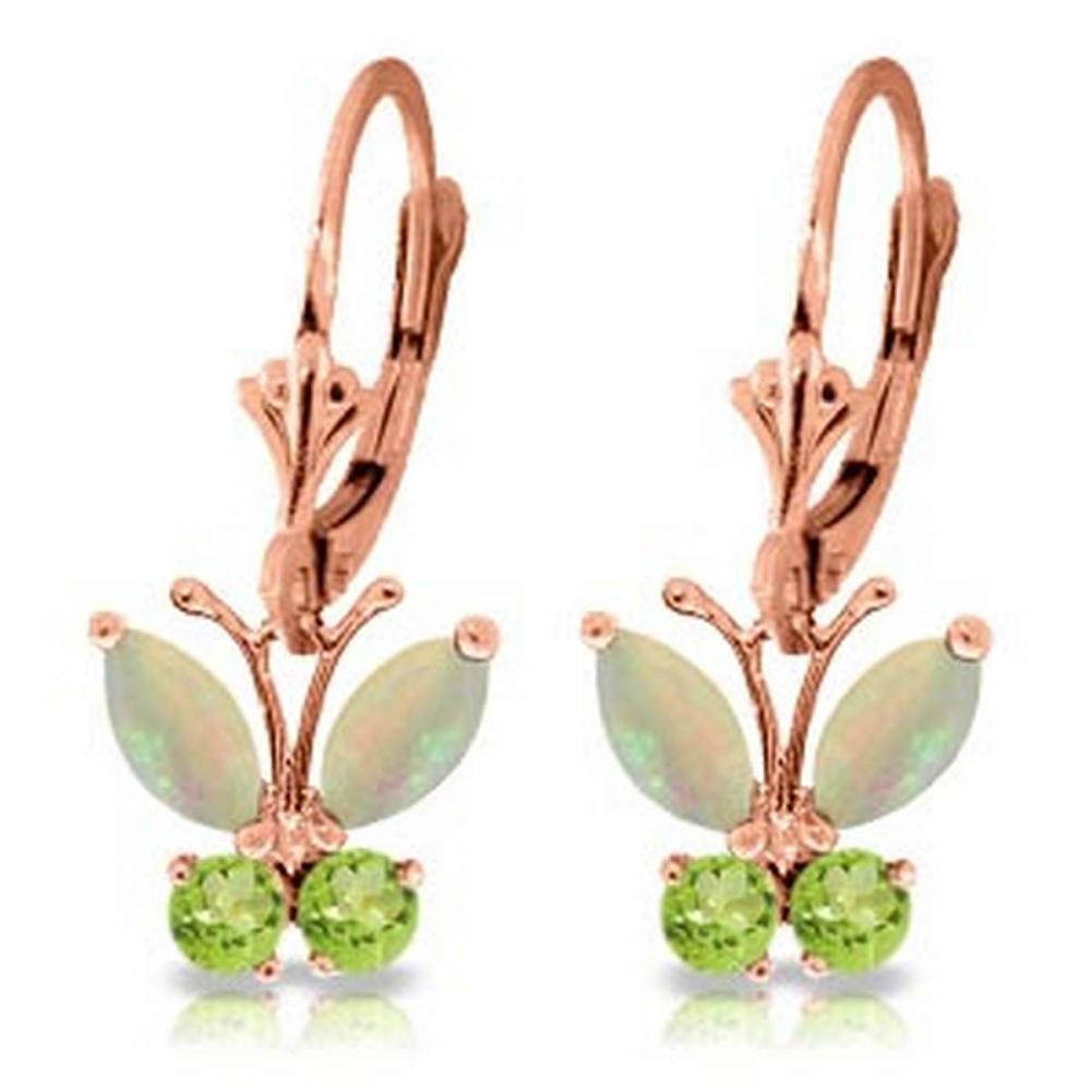 1.39 Carat 14K Solid Rose Gold Butterfly Earrings Opal Peridot #1AC92667