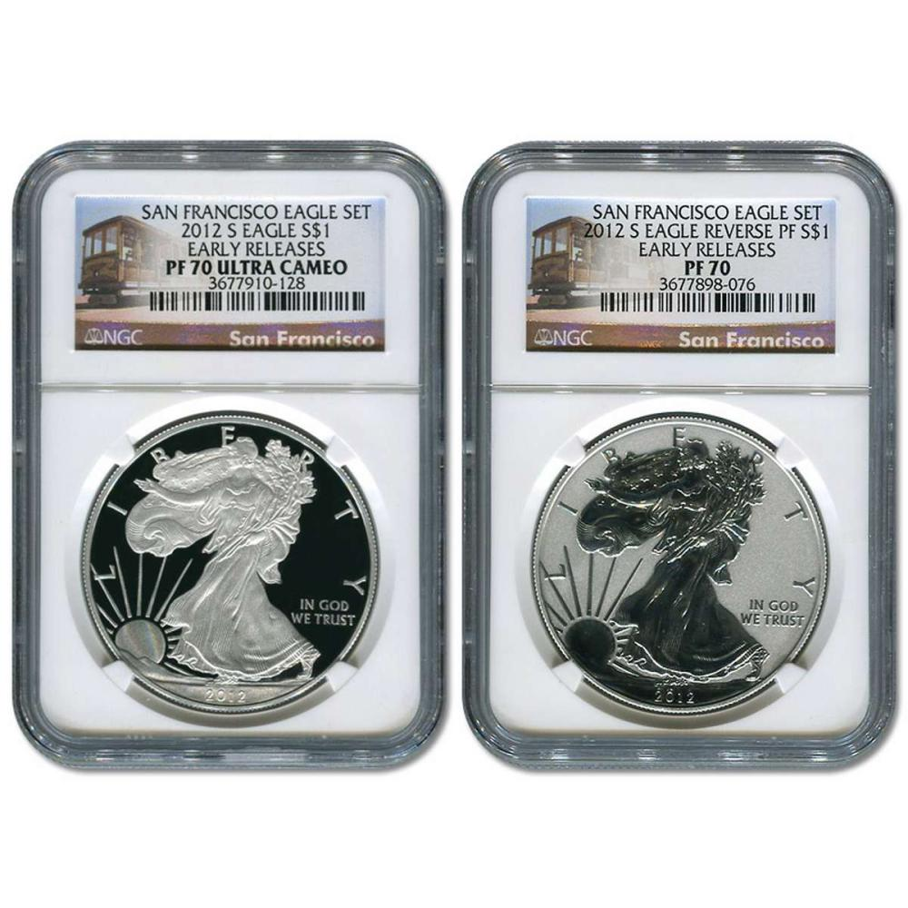 Certified 2012-S American Eagle 2pc Proof Silver Set PF70 NGC Early Release #1AC81428