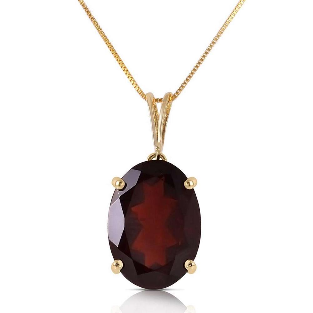 6 Carat 14K Solid Gold Necklace Oval Garnet #1AC92327