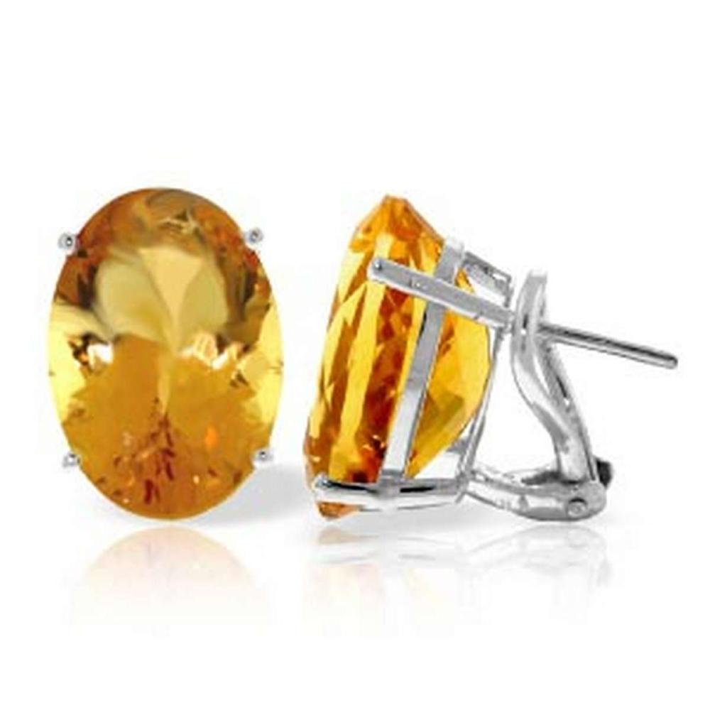 13 Carat 14K Solid White Gold French Clips Earrings Natural Citrine #1AC92293