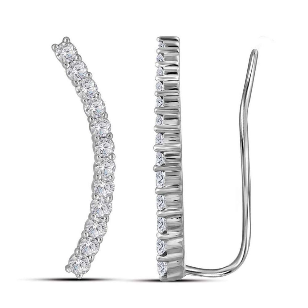 10kt White Gold Womens Round Natural Diamond Climber Fashion Earrings 3/4 Cttw #1AC90395