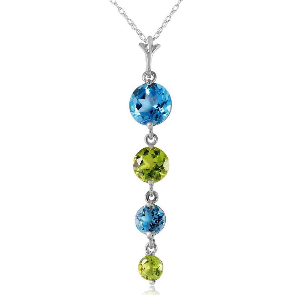 3.9 Carat 14K Solid White Gold Please Nod Blue Topaz Peridot Necklace #1AC92632