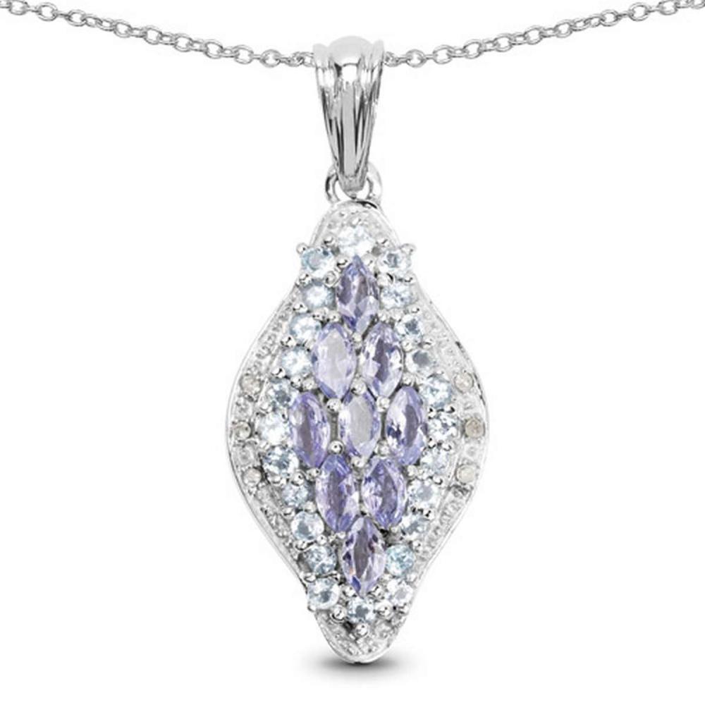 2.15 CTW Genuine Tanzanite Blue Topaz and White Diamond .925 Sterling Silver Pendant #1AC28333