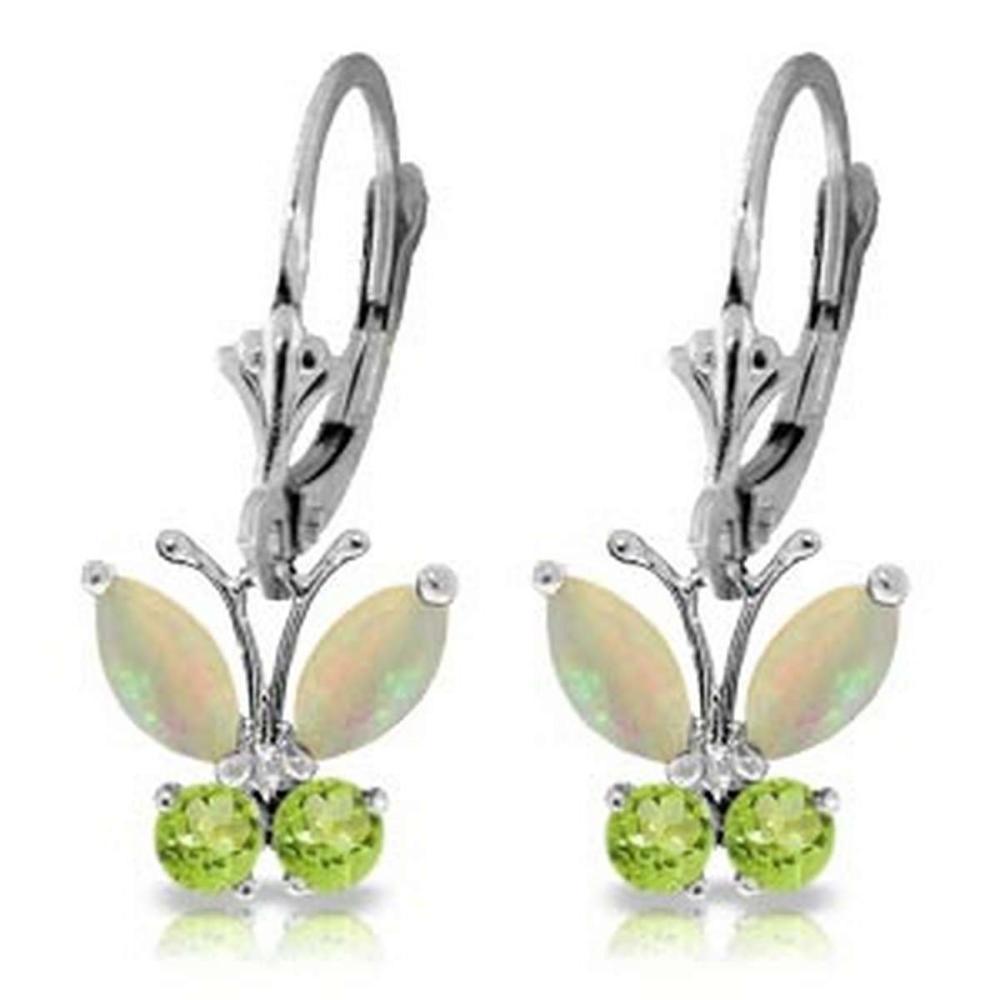 1.39 Carat 14K Solid White Gold Butterfly Earrings Opal Peridot #1AC92668