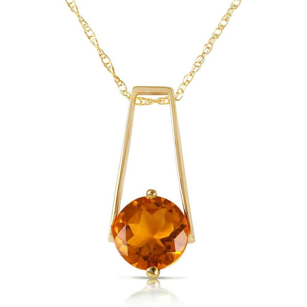 1.45 Carat 14K Solid Gold Privacy Citrine Necklace #1AC92372