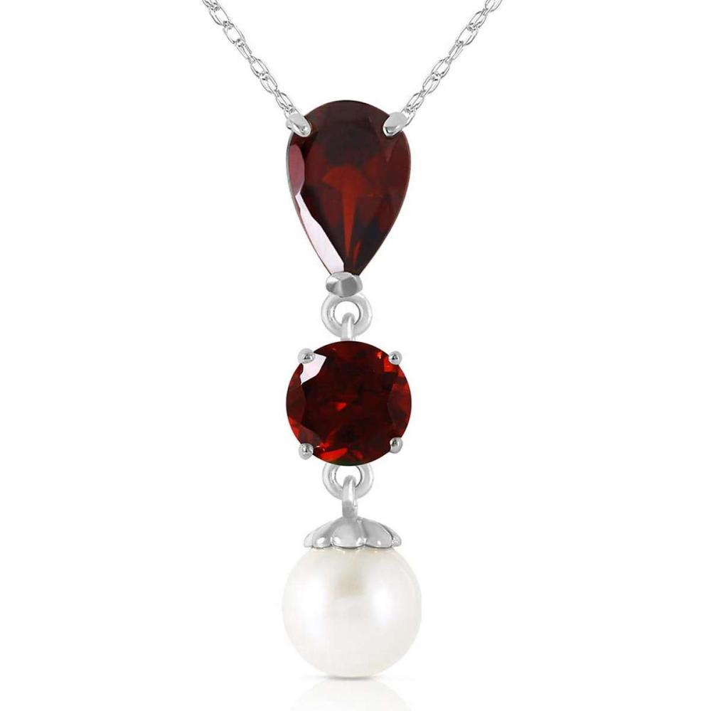 5.25 Carat 14K Solid White Gold Necklace Garnet pearl #1AC92452