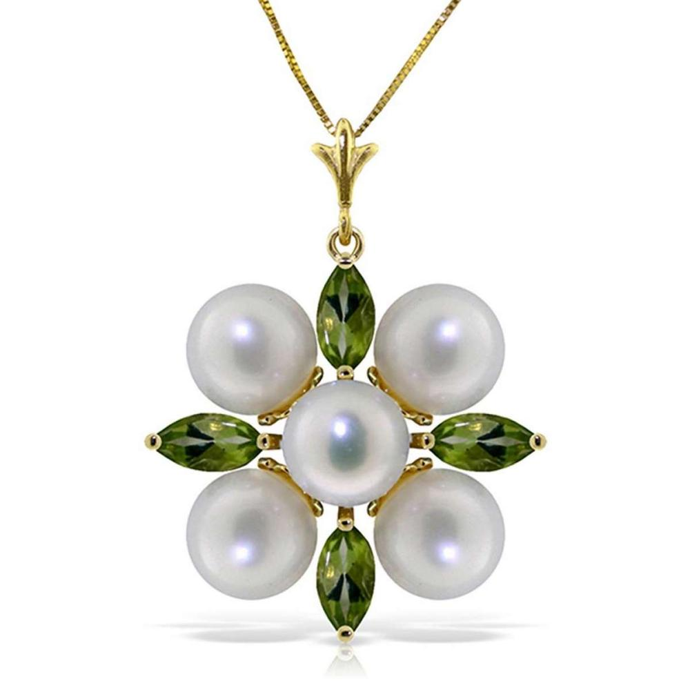 6.3 Carat 14K Solid Gold Fear No More Peridot pearl Necklace #1AC92522