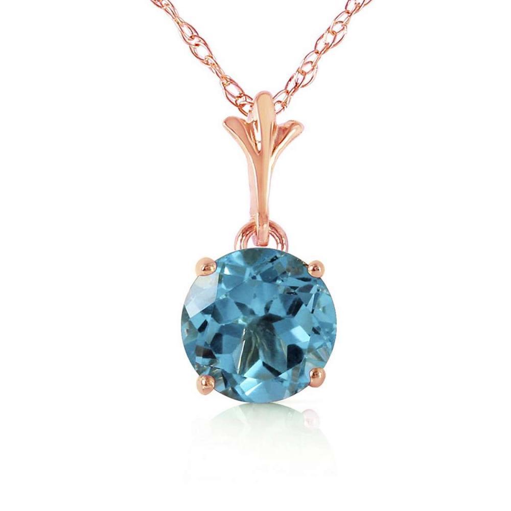 1.15 Carat 14K Solid Rose Gold Single Round Blue Topaz Necklace #1AC92274