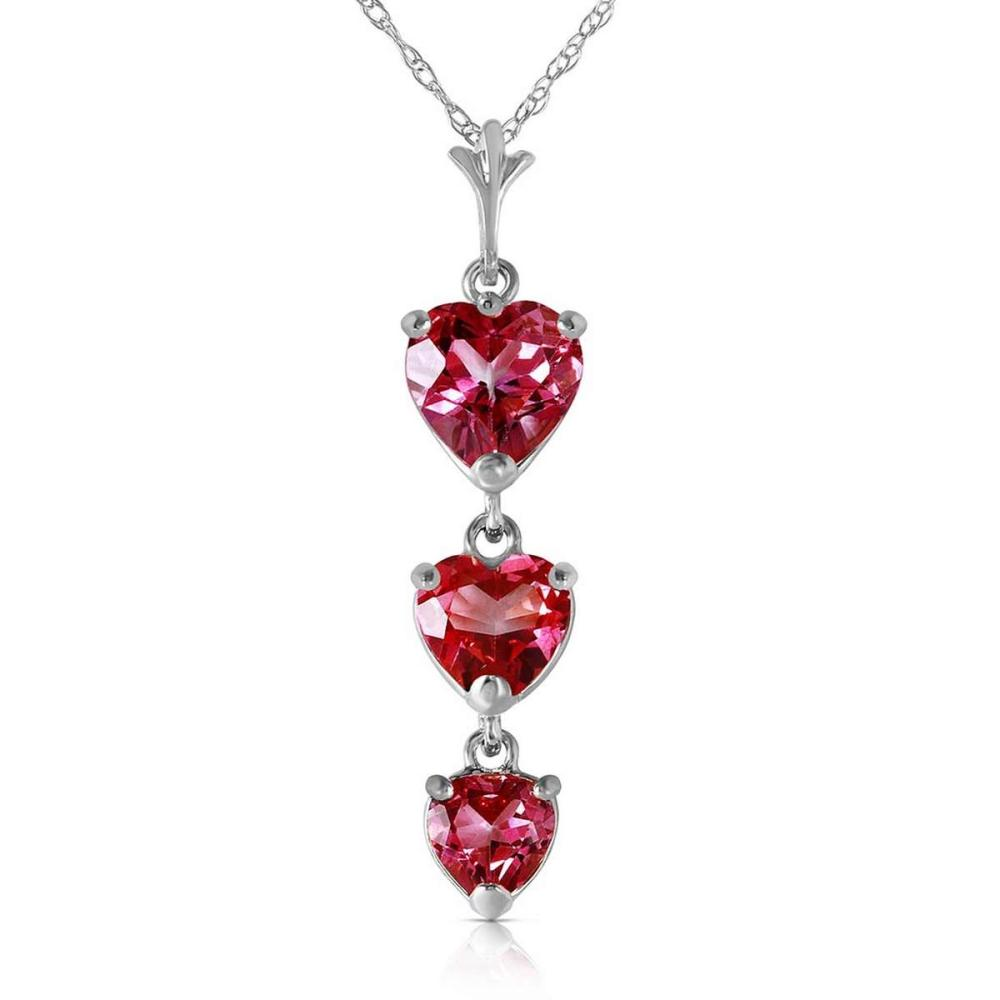 3.03 CTW 14K Solid White Gold Single Tendril Pink Topaz Necklace #1AC92473