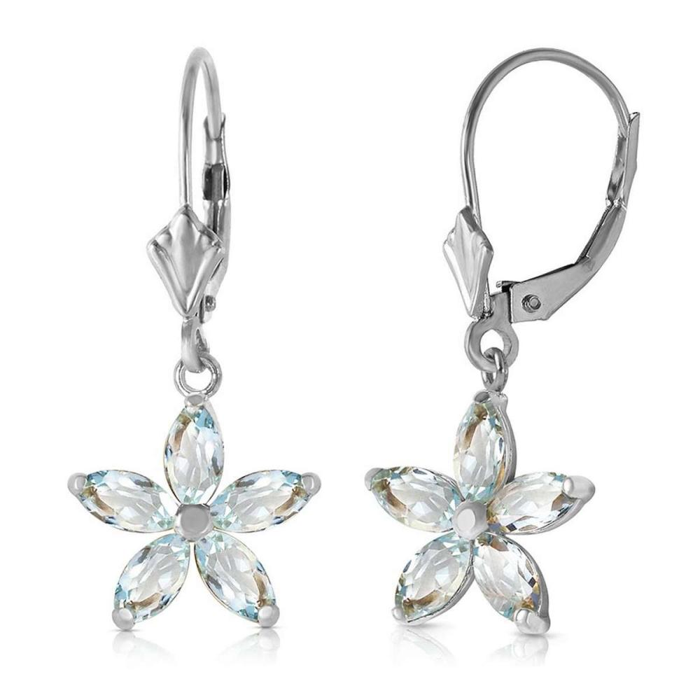 2.8 Carat 14K Solid White Gold Stand Firm Aquamarine Earrings #1AC92566