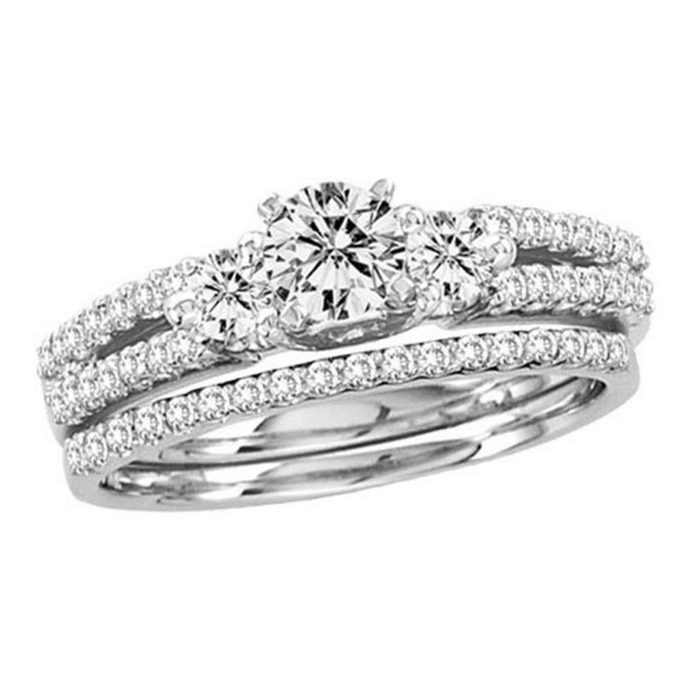 14KT White Gold 1.00CTW DIAMOND 0.40CT CENTER ROUND BRIDAL SET #1AC56221