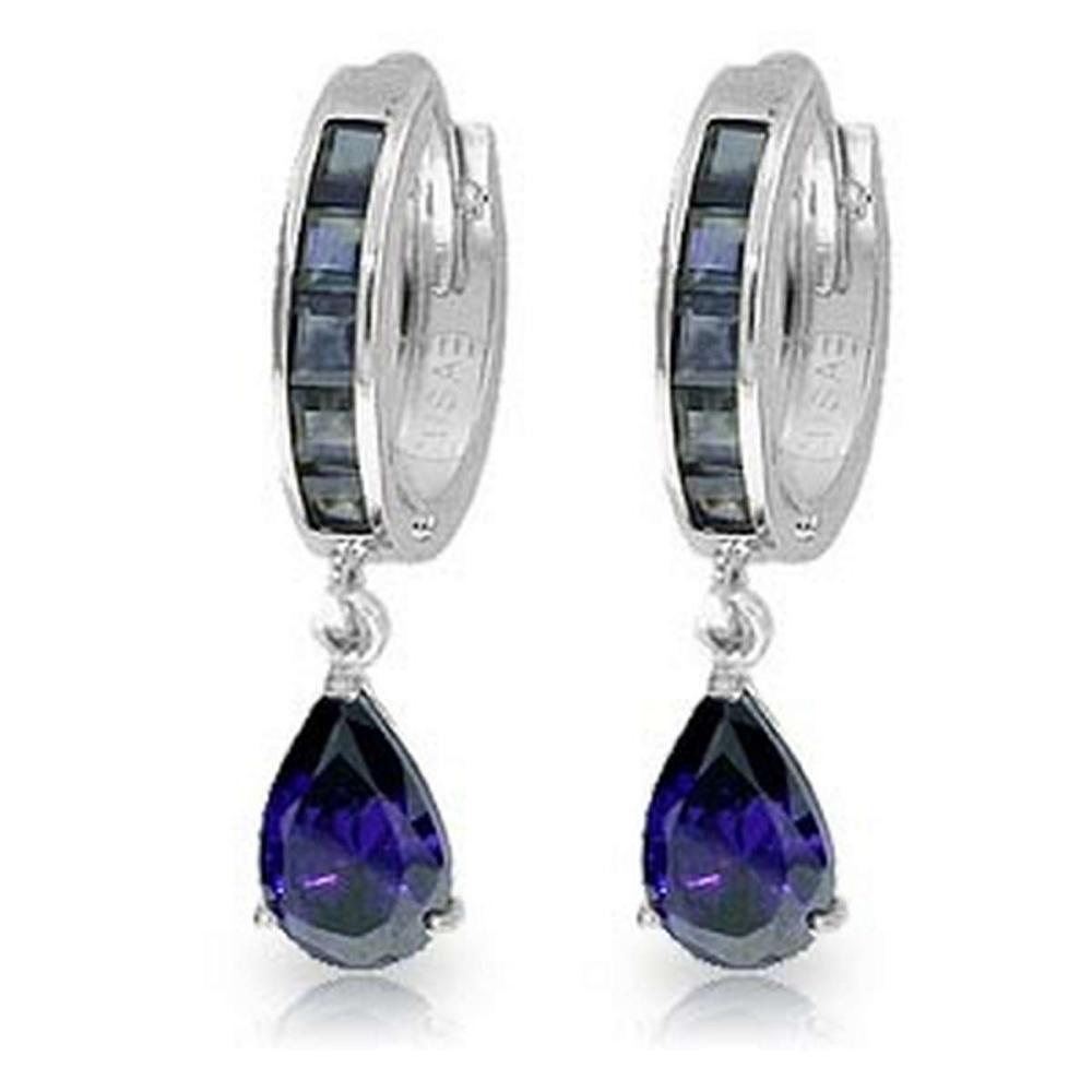 4.55 Carat 14K Solid White Gold Hoop Huggie Earrings Sapphire #1AC92461