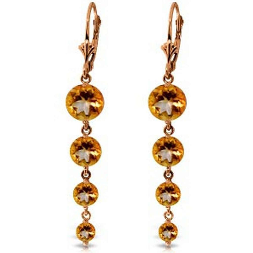 14K Solid Rose Gold Chandelier Earrings with Natural Citrines #1AC92331