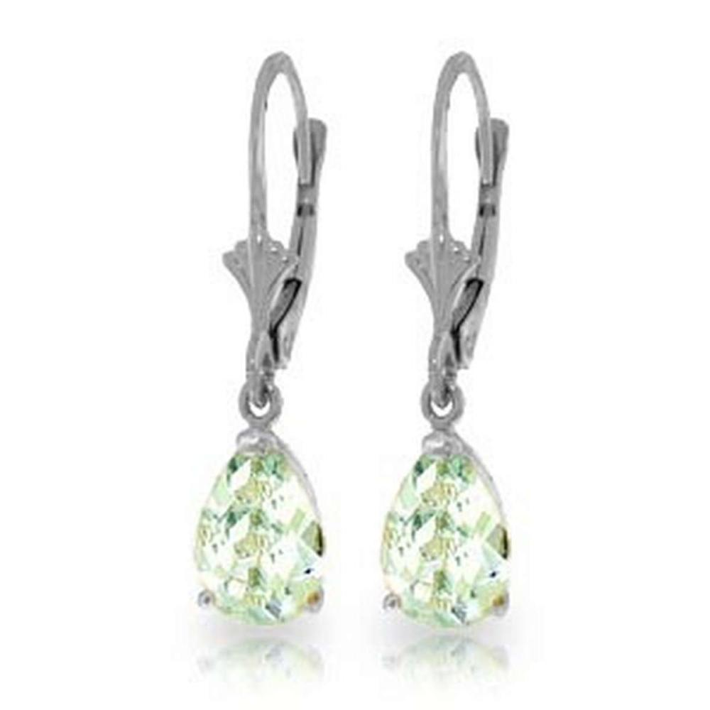 2.85 Carat 14K Solid White Gold Applying Your Hand Aquamarine Earrings #1AC92302
