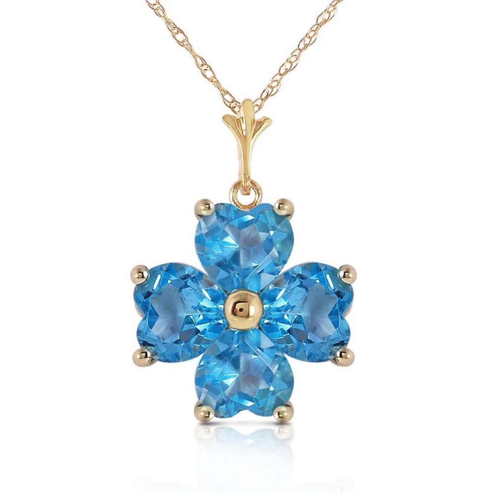 3.8 Carat 14K Solid Gold Catch Me Blue Topaz Necklace #1AC92648