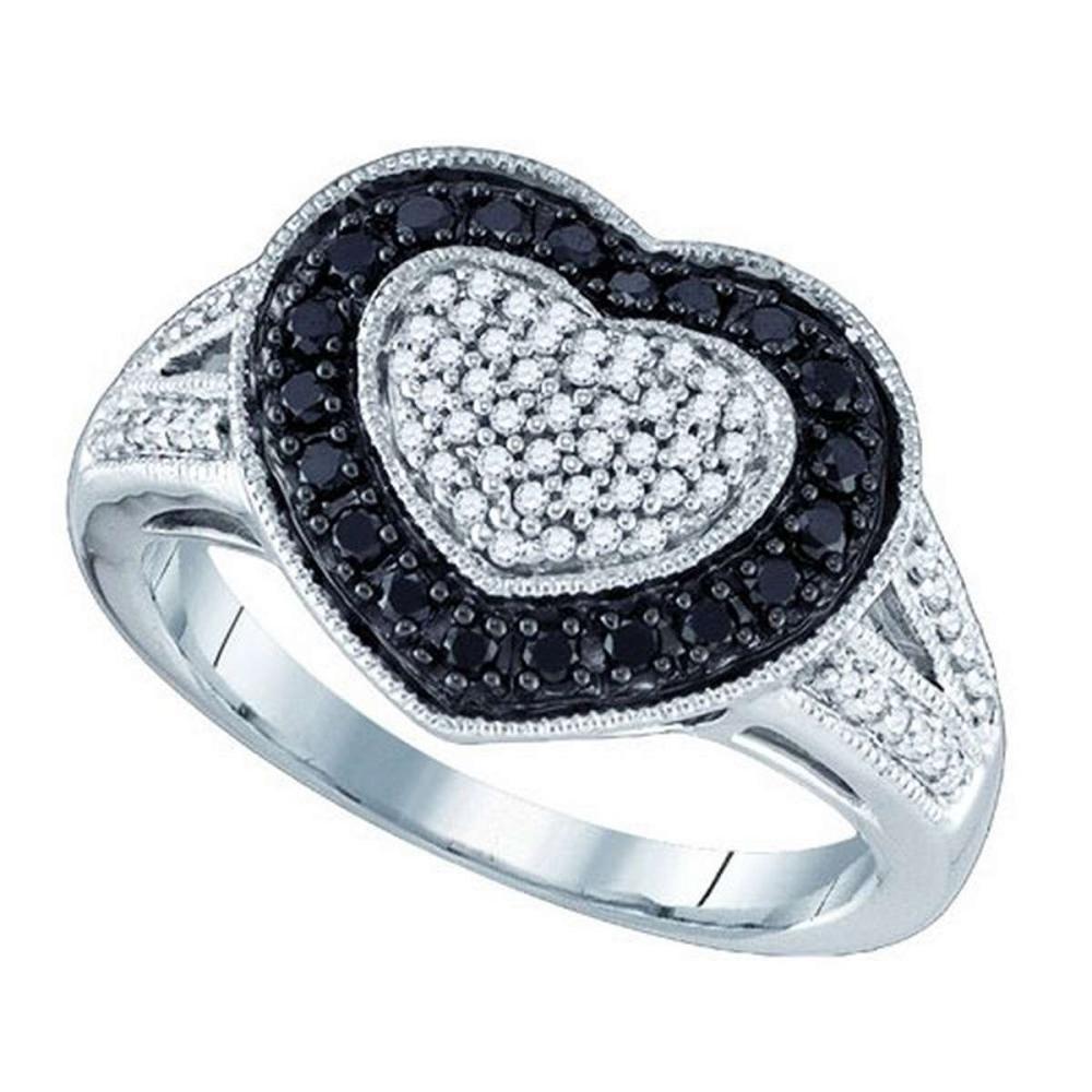 10K White-gold 0.51CTW BLACK DIAMOND HEART RING #1AC54060