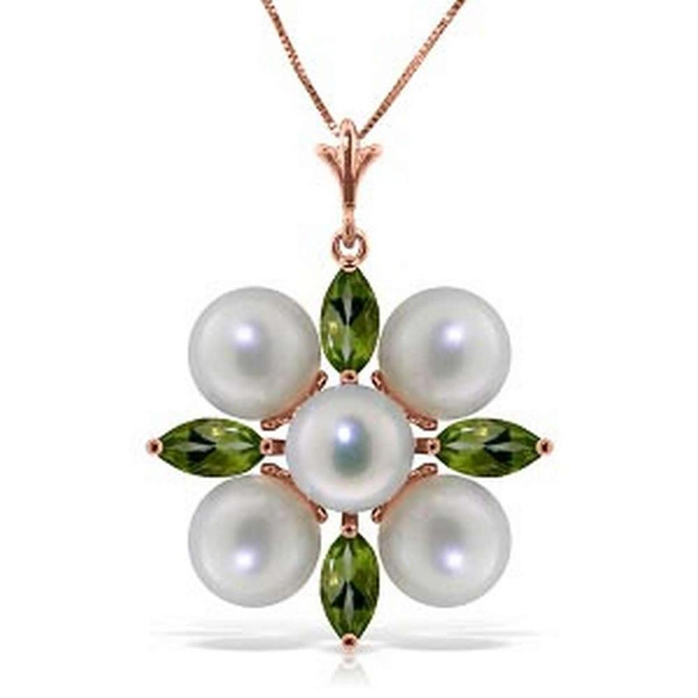6.3 Carat 14K Solid Rose Gold Snowflake pearl Peridot Necklace #1AC92520