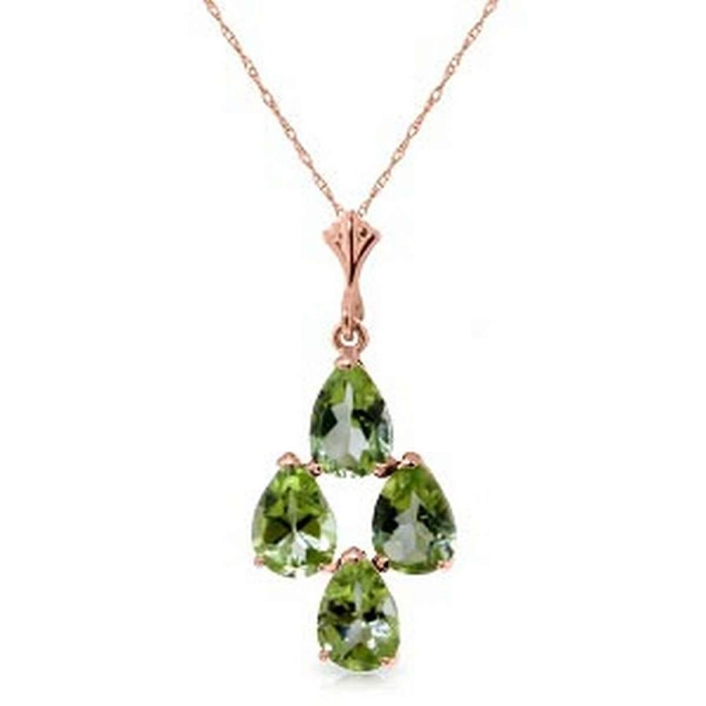 2.25 Carat 14K Solid Rose Gold Pyramid Peridot Necklace #1AC92418