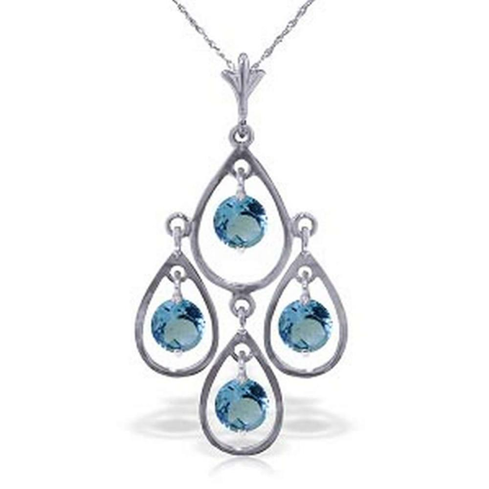 1.2 Carat 14K Solid White Gold Call The Tune Blue Topaz Necklace #1AC92686