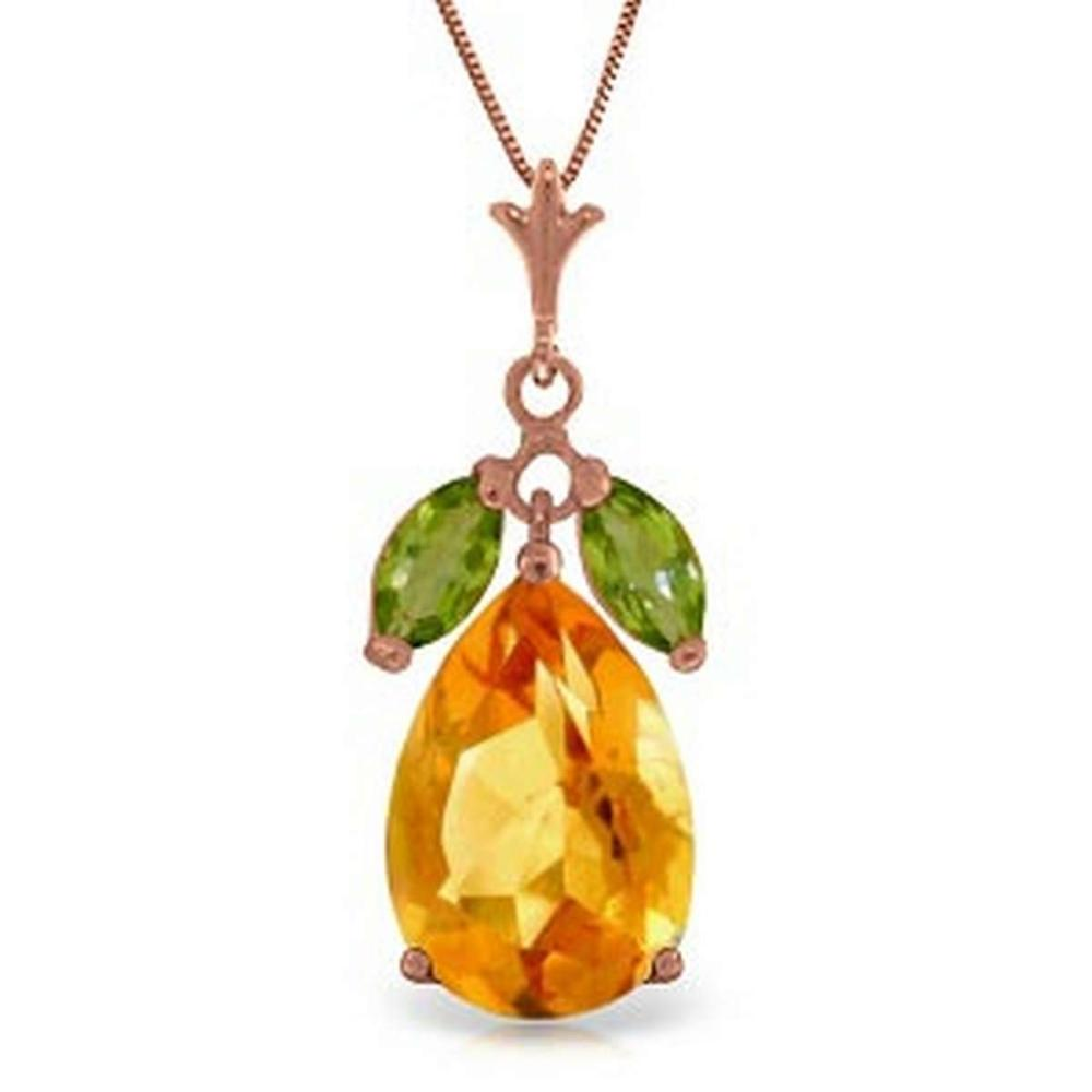 14K Solid Rose Gold Necklace with Citrine & Peridots #1AC92469