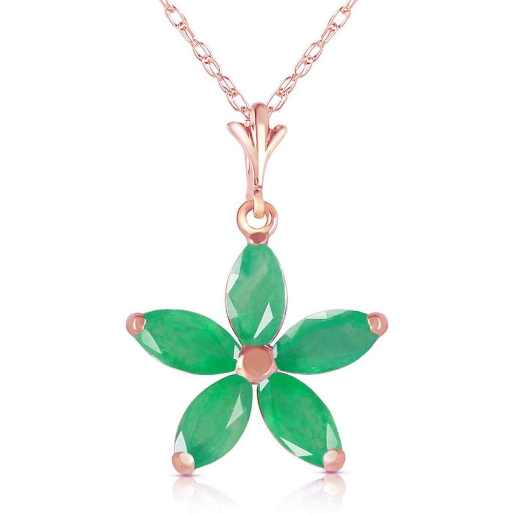14K Solid Rose Gold Necklace with Natural Emeralds #1AC92475