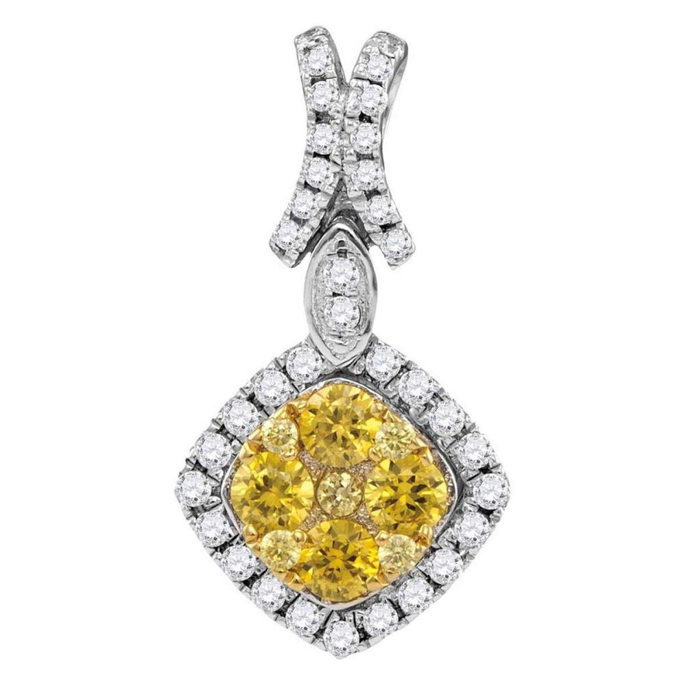 14kt White Gold Womens Round Yellow Diamond Diagonal Square Frame Cluster Pendant 1.00 Cttw #1AC44197