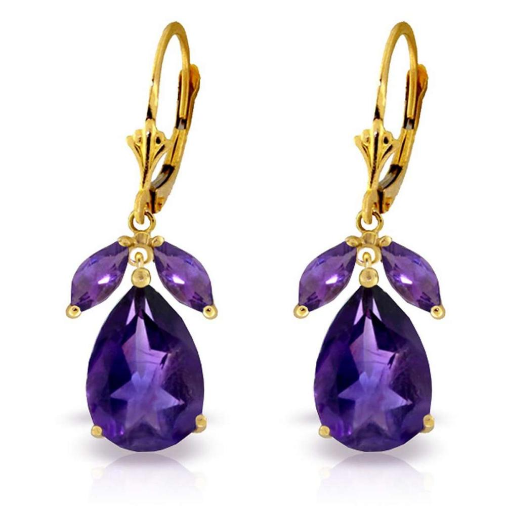 13 Carat 14K Solid Gold Leverback Earrings Natural Amethyst #1AC92495