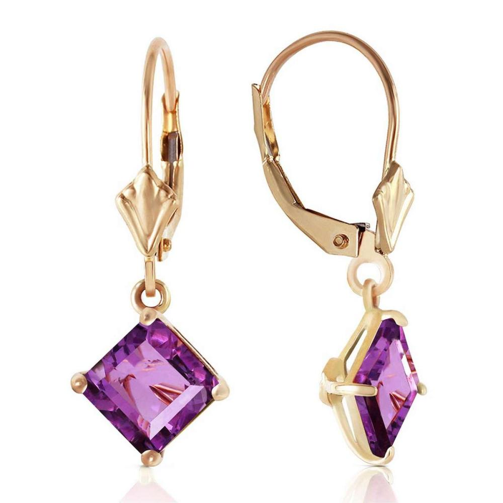 3.2 Carat 14K Solid Gold Excellence Amethyst Earrings #1AC92255