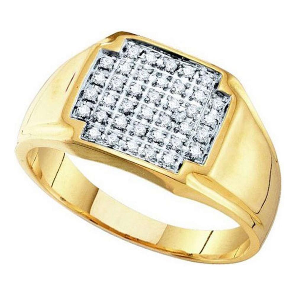 10K Yellow-gold 0.25CTW DIAMOND MICRO PAVE MENS RING #1AC64235