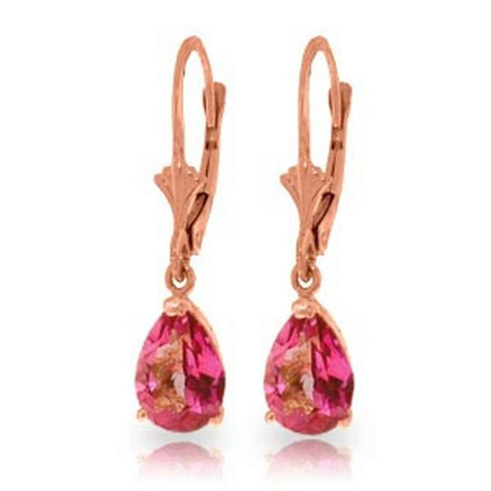 2.85 Carat 14K Solid Rose Gold Glamour Pink Topaz Earrings #1AC92298