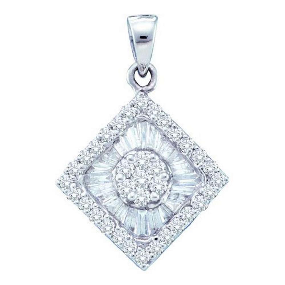 14KT White Gold 0.97CTW DIAMOND FLOWER PENDANT #1AC52301