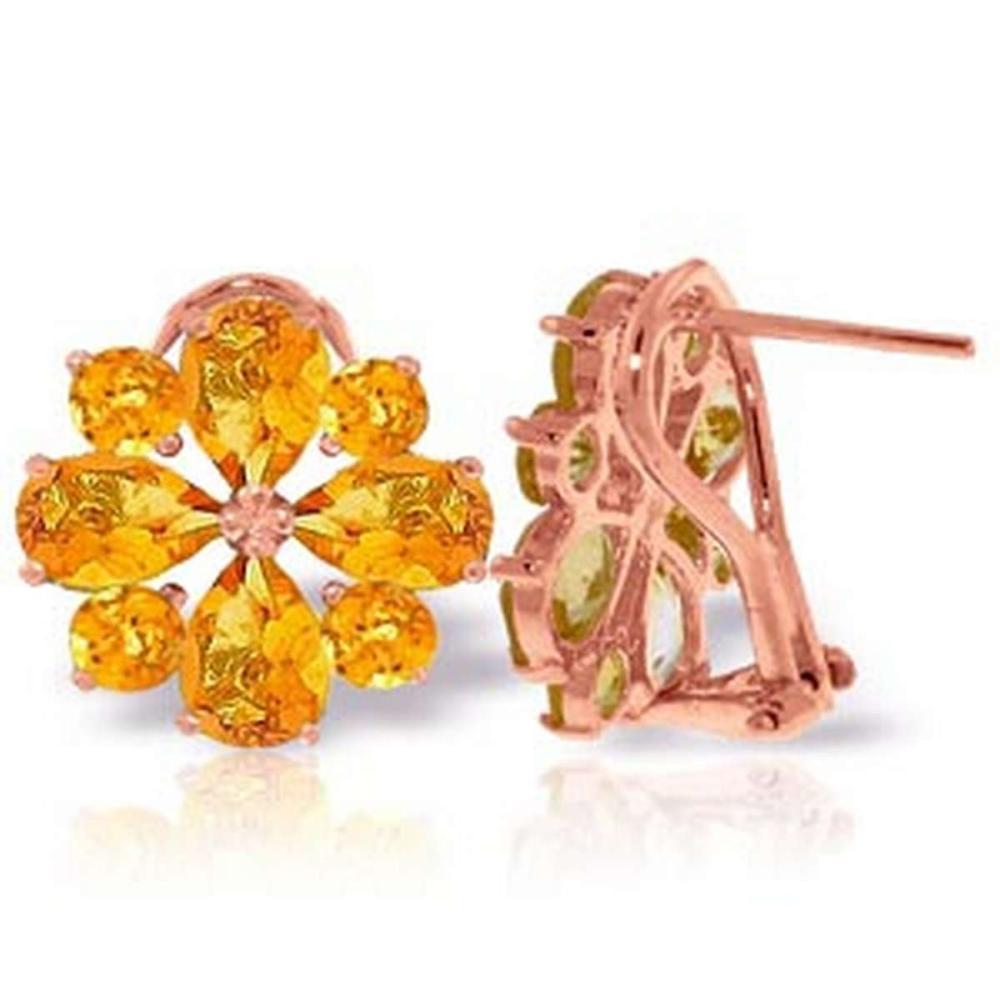 4.85 CTW 14K Solid Rose Gold Flower Citrine Clip Earrings #1AC92592