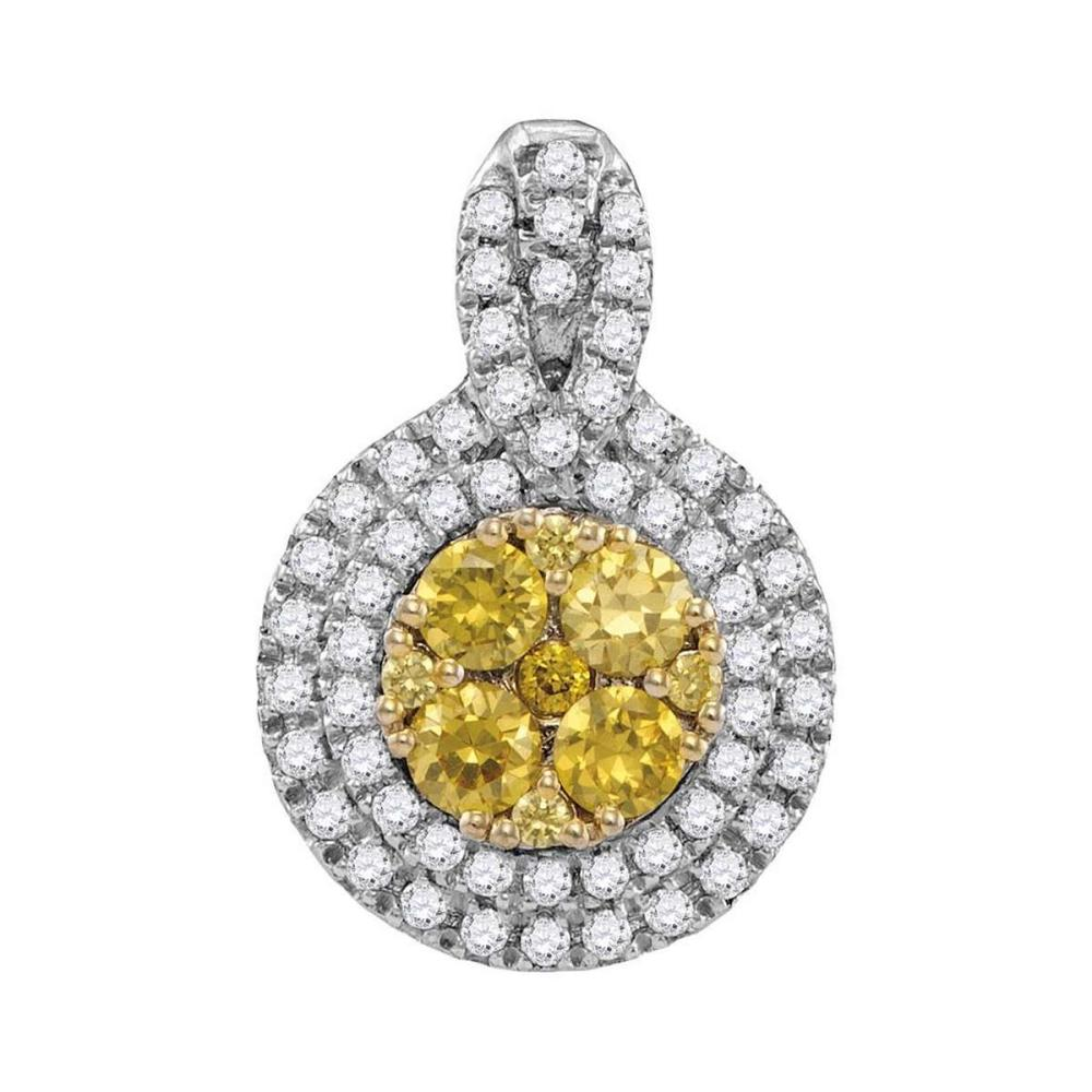 14kt White Gold Womens Round Yellow Diamond Circle Frame Cluster Pendant 1.00 Cttw #1AC44199