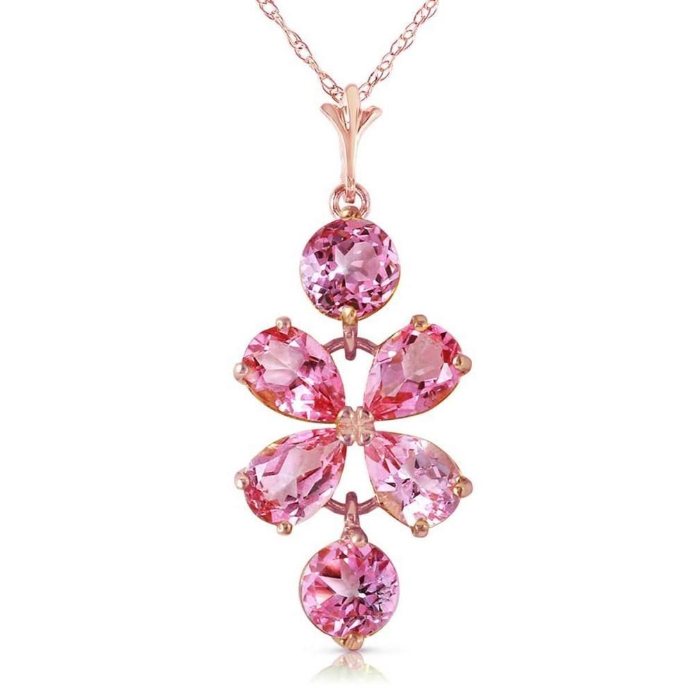 3.15 Carat 14K Solid Rose Gold Petals Pink Topaz Necklace #1AC92355
