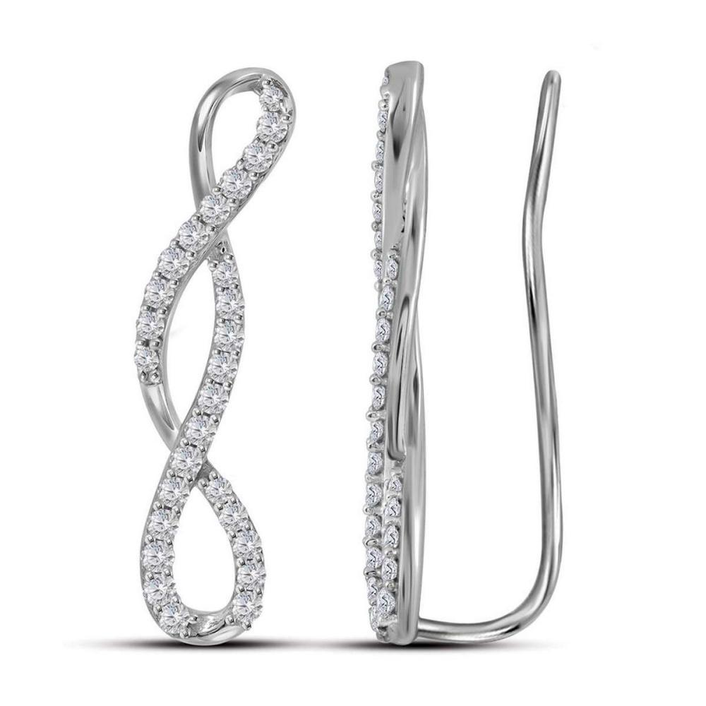 10kt White Gold Womens Round Natural Diamond Infinity Climber Fashion Earrings 1/2 Cttw #1AC90404